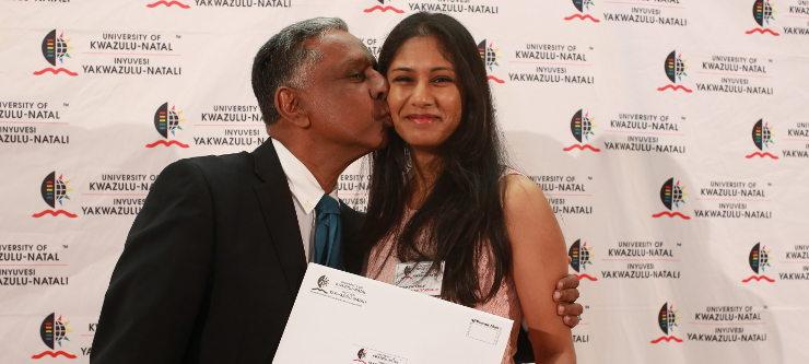 Ms Siddharthiya Pillay congratulated by her father, Professor Kriben Pillay.