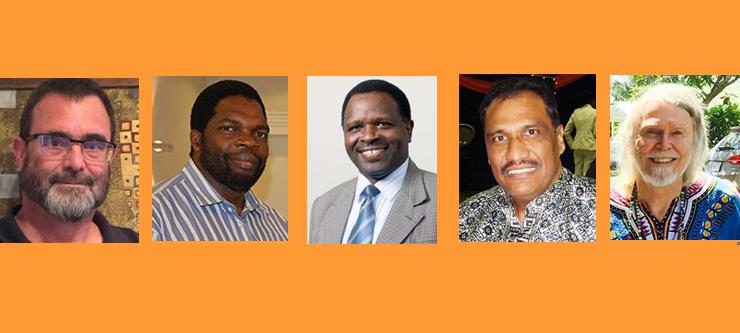 Professor Stephen Peté, Professor Maxwell Phiri, Professor Stephen Migiro, Professor Krishna K Govender and Professor David McQuoid-Mason.
