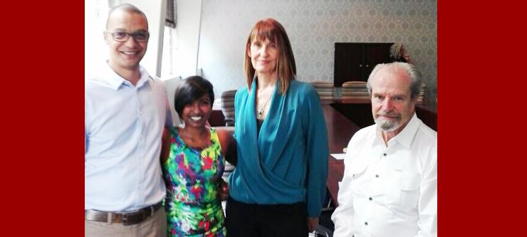 From left: Mr Gerswynn Mckuur (GCIP), Dr Umeshree Govender (InQubate), Ms Petro de Wet (GCIP), and Mr Paul de Give (GCIP).