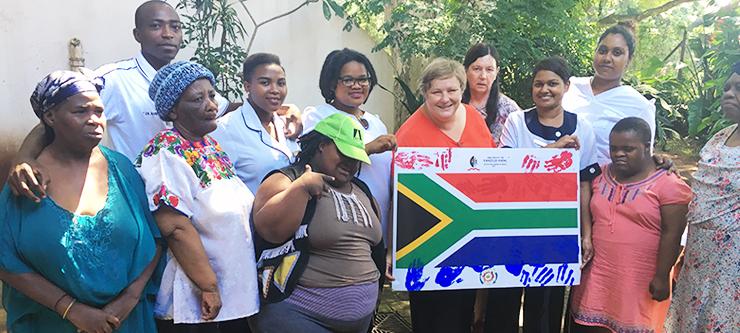 UKZN Nursing Psychiatry Lecturer Ms Charlotte Engelbrecht, Nursing students and members of Hepburn House at the Natal Settlers Memorial Homes in Durban.