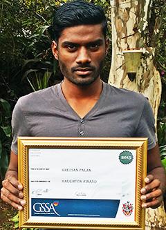 Mr Kreesan Palan with his award.